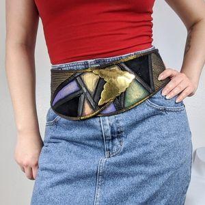 VTG 80s leather patchwork statement belt